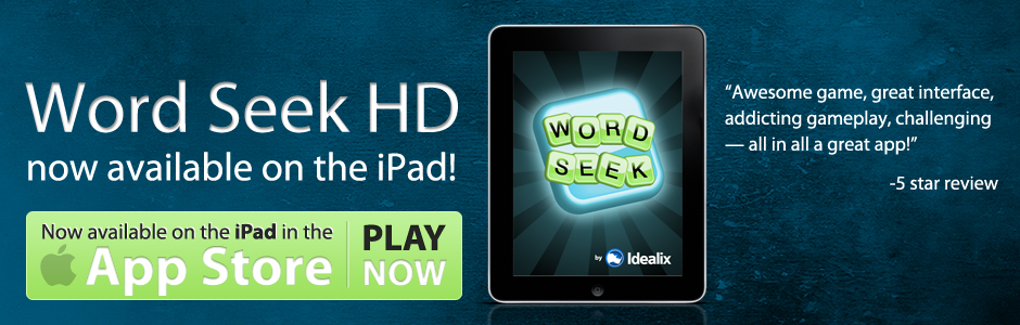 A banner saying that Word Seek is available in the iOS store and shows the Word Seek home screen